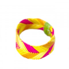 Live Thai Straw Bangle Yellow and Pink Striped