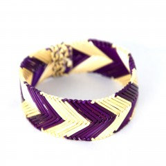 Live Thai Straw Bangle Purple Striped
