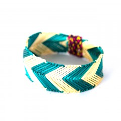 Live Thai Straw Bangle Turquoise Striped