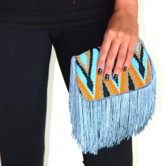 Live Indian Delhi Fringe Bag Blue