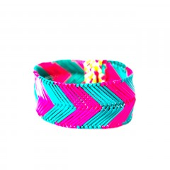 Live Thai Straw Bangle Turquoise and Pink