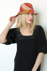 Live Madagascar Small Striped Sun Hat with Bow in Red